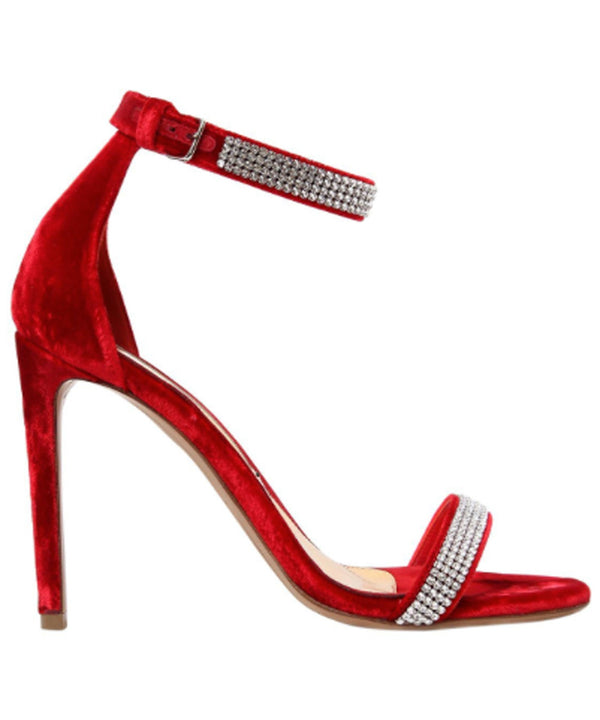 RED VELVET SANDALS  SIDE VIEW - THE BOX BOUTIQUE