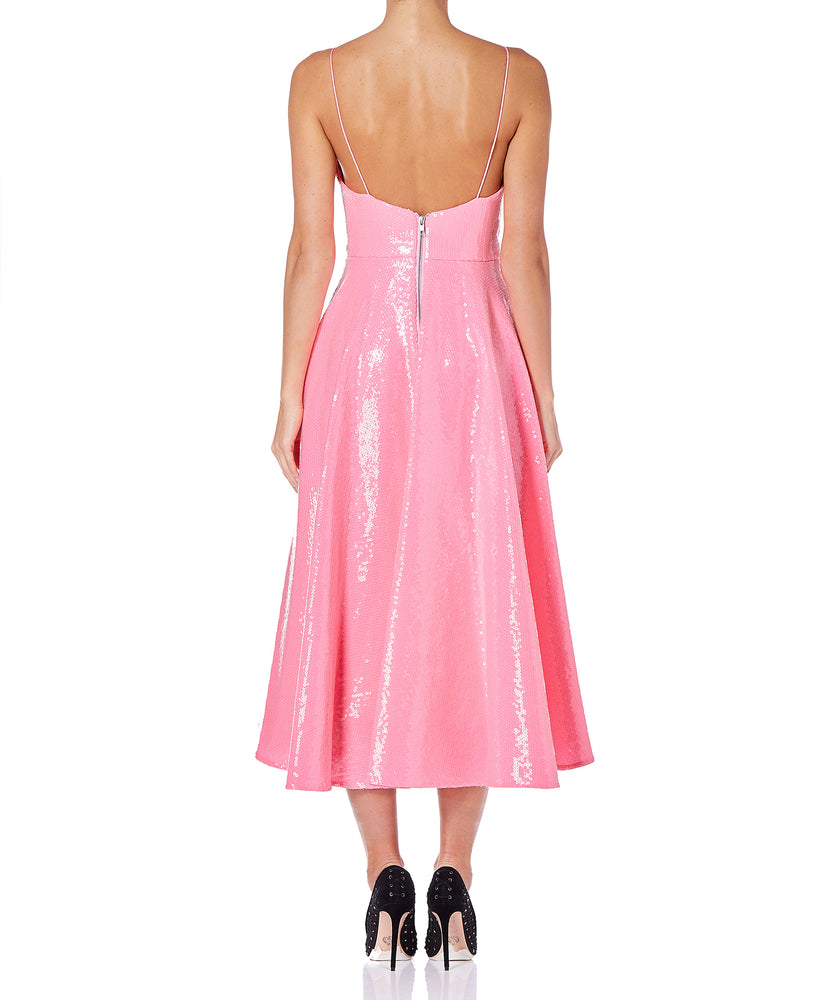 Alex Perry Paxton Sequin Ruffle Midi Women Pink Dress