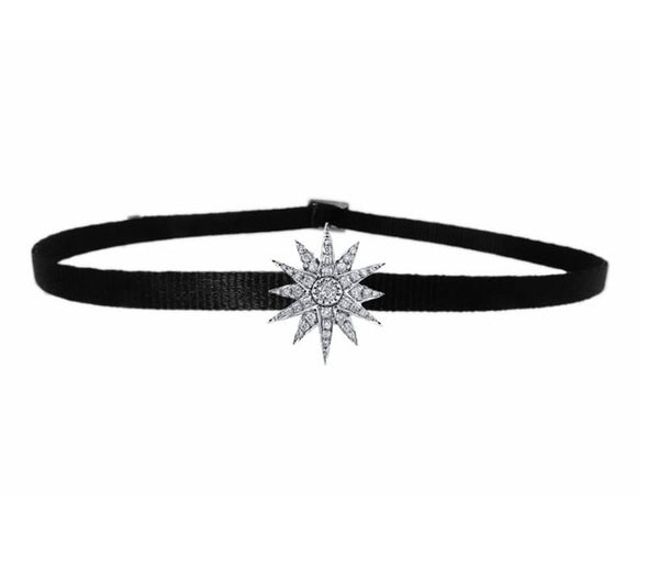 SINGLE STARBURST CHOKER IN WHITE GOLD-FRONT VIEW-THE BOX BOUTIQUE