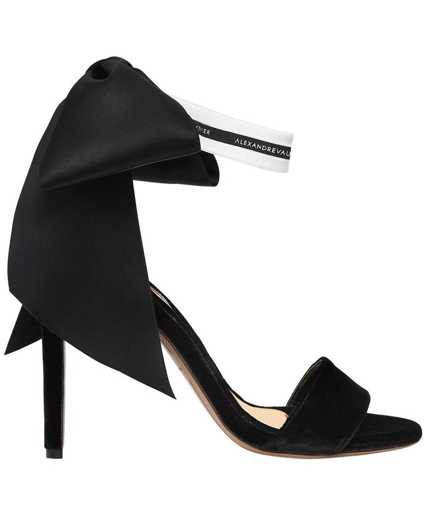 BOW DOWN BLACK VELVET SANDALS  SIDE VIEW - THE BOX BOUTIQUE