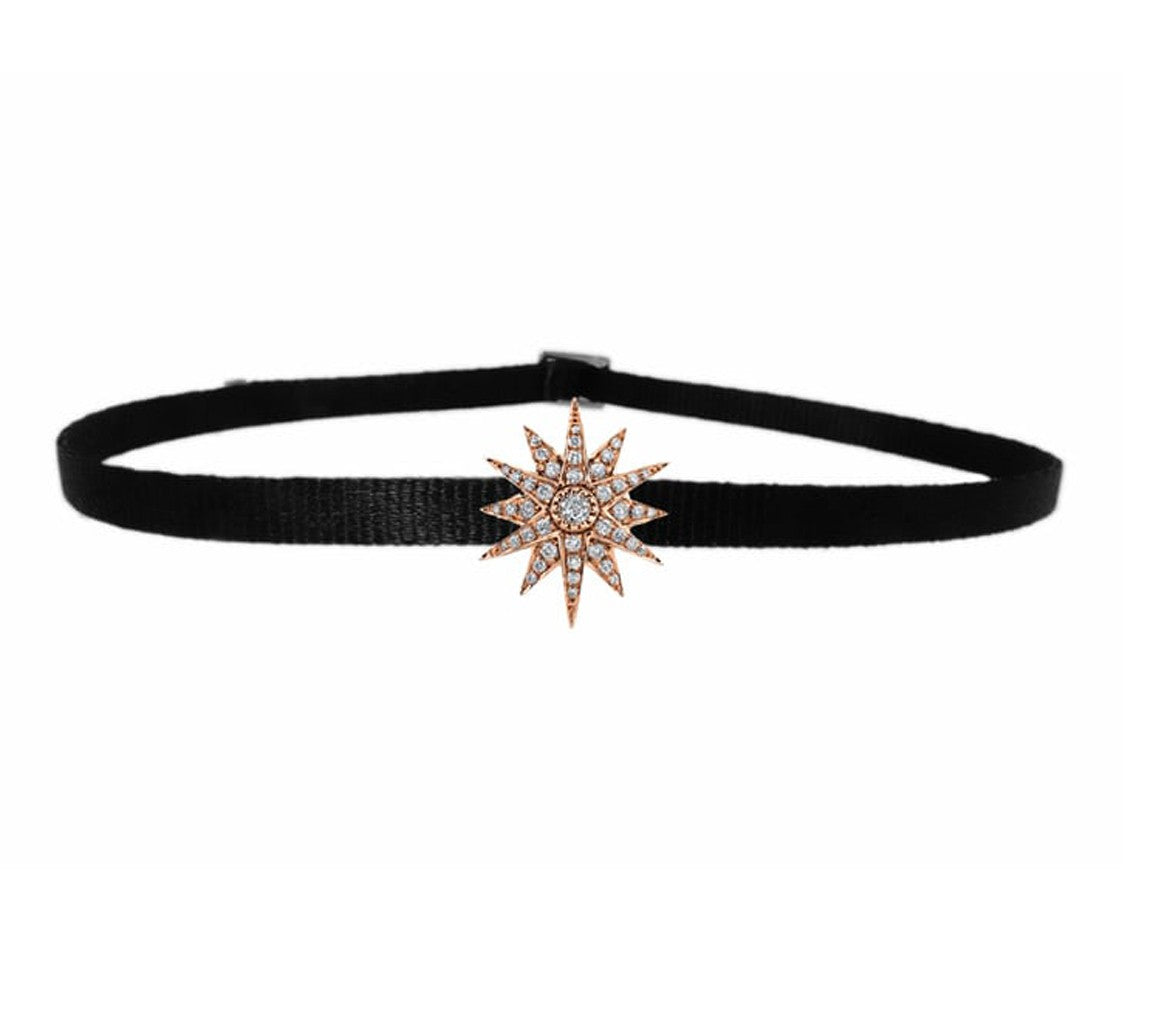 SINGLE STARBURST CHOKER IN ROSE GOLD-FRONT VIEW-THE BOX BOUTIQUE
