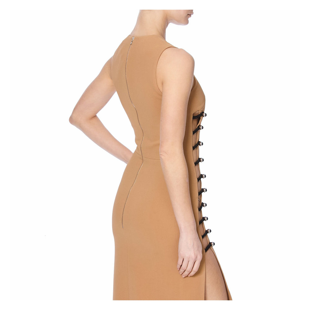 PENCIL DRESS WITH ONE SIDE LOOPS AND METAL BALLS -BACK VIEW - THE BOX BOUTIQUE