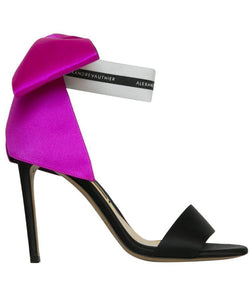 BOW DOWN SANDALS WITH FUCHSIA BOW  SIDE VIEW - THE BOX BOUTIQUE