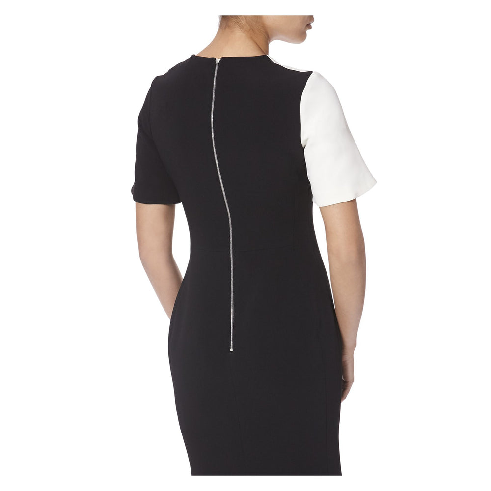 ZIP DETAIL FIT AND FLARE MIDI DRESS -BACK VIEW- THE BOX BOUTIQUE