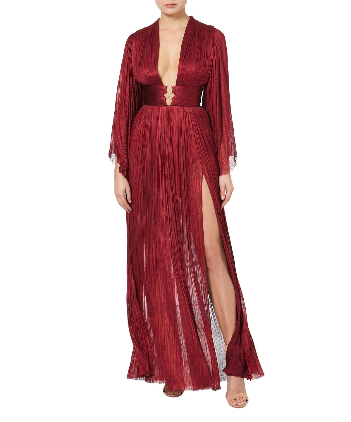 CHARLIZE PLEATED GOWN  -FRONT VIEW- THE BOX BOUTIQUE