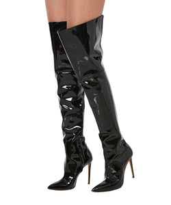 TONI THIGH HIGH BOOTS  SIDE VIEW - THE BOX BOUTIQUE