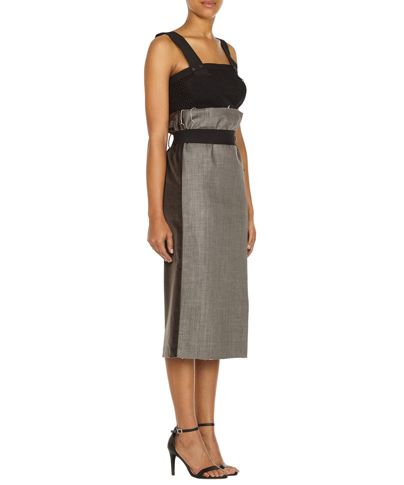 ZIP PENCIL SKIRT IN GREY-SIDE VIEW-THE BOX BOUTIQUE