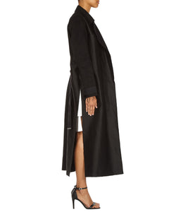 BLACK LONG SLIT COAT-SIDE VIEW-THE BOX BOUTIQUE