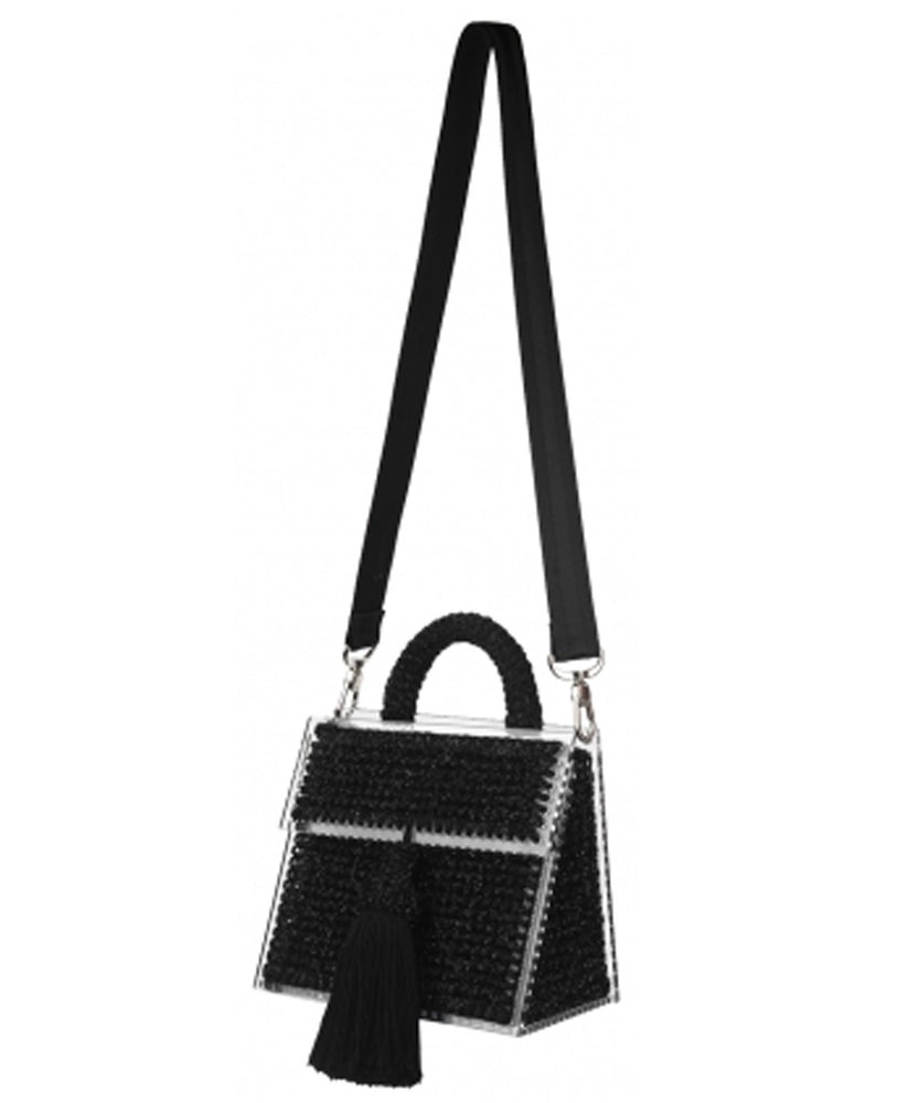 SPARKLY BLACK COPACABANA PURSE FONT VIEW