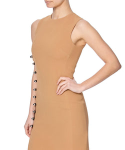 PENCIL DRESS WITH ONE SIDE LOOPS AND METAL BALLS - SIDE VIEW - THE BOX BOUTIQUE