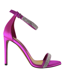 Fuchsia Satin and Crystal Sandal SIDE VIEW