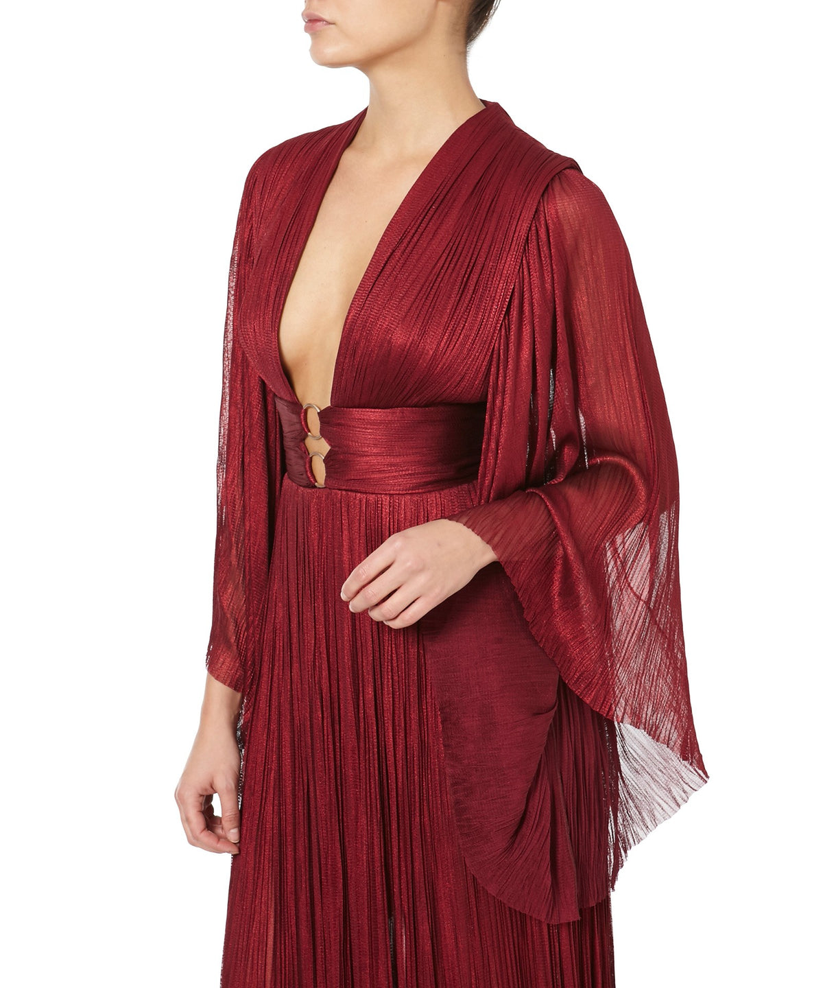 CHARLIZE PLEATED GOWN  -SIDE VIEW- THE BOX BOUTIQUE