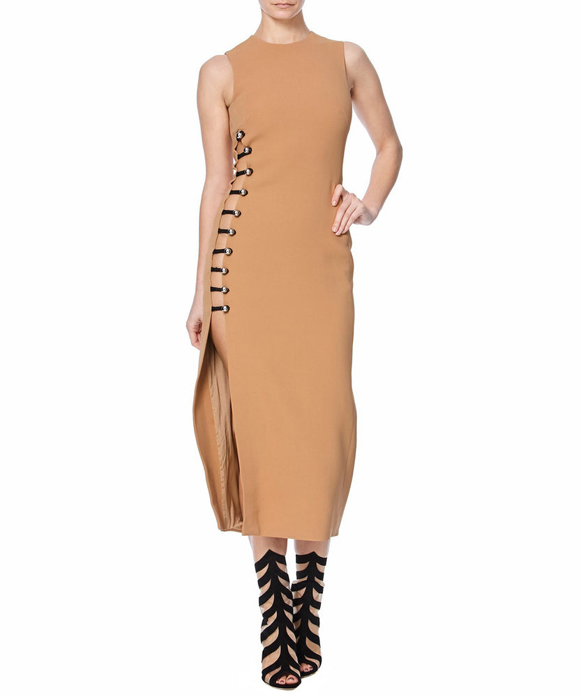 PENCIL DRESS WITH ONE SIDE LOOPS AND METAL BALLS - FONT VIEW - THE BOX BOUTIQUE