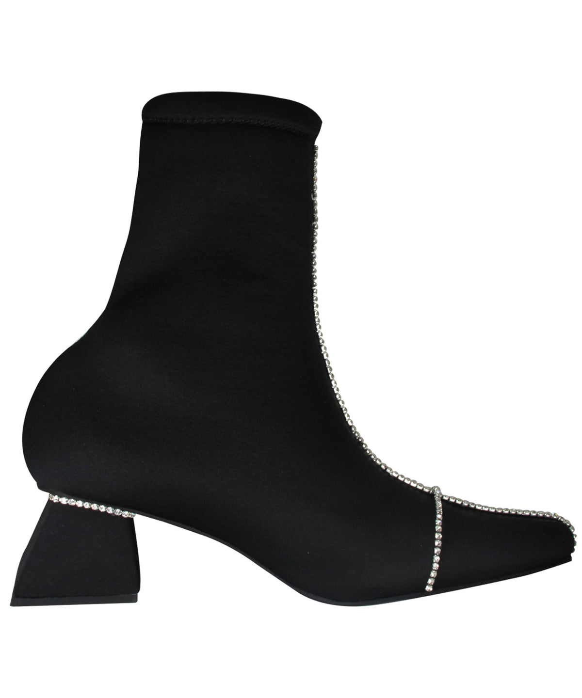 Zarqua Collection Crystal Women Black And Silver Booties