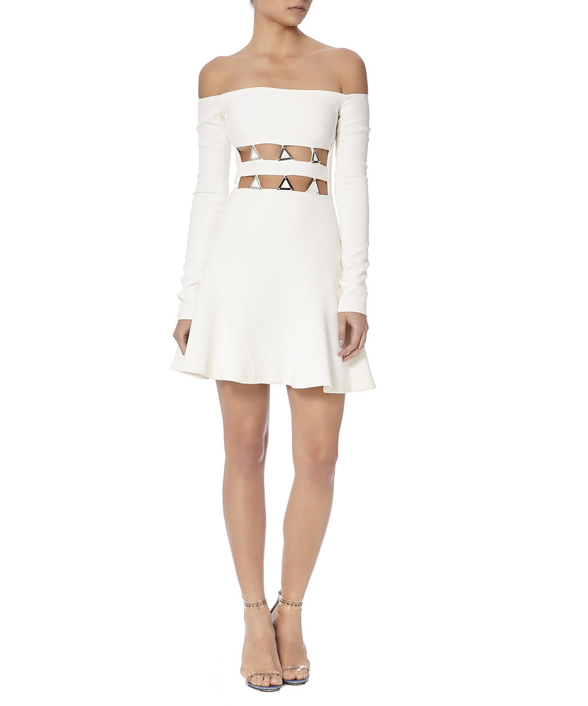METAL EMBROIDERED DRESS WITH CUT OUTS - FONT VIEW - THE BOX BOUTIQUE