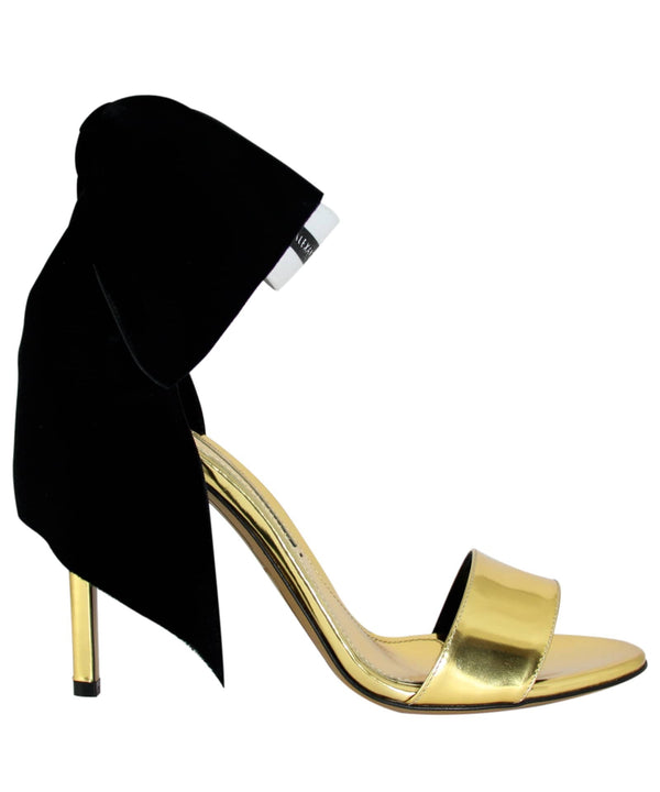 BOW DOWN GOLDEN PATENT SANDALS  SIDE VIEW - THE BOX BOUTIQUE