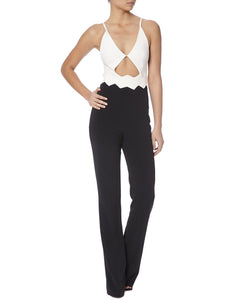 ZIG ZAG WAIST DETAIL JUMPSUIT - FONT VIEW - THE BOX BOUTIQUE