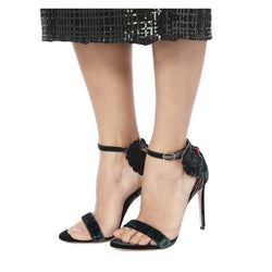 MALIKAH GREEN VELVET SANDALS-SIDE VIEW-THE BOX BOUTIQUE