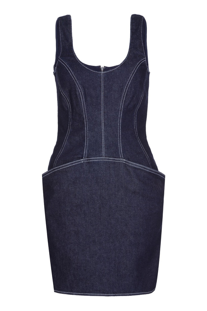 Mugler Denim Mini Women Blue Dress