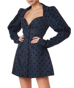 Marianna Senchina Bustier Women Dark-Blue and Black Polka Dress