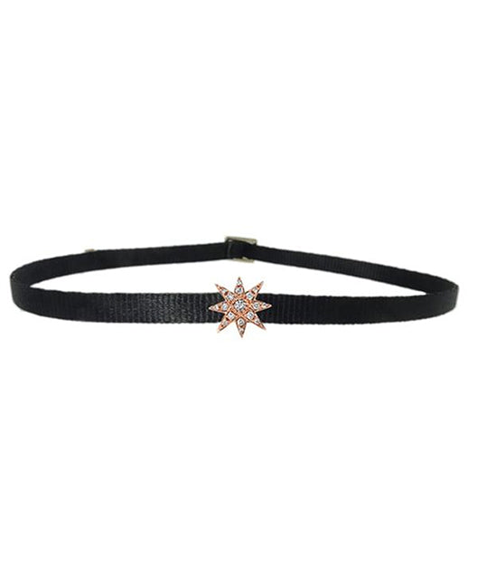 Shay Jewelry Mini Starburst Women Black and Gold Choker Necklace