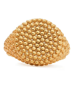 Maria Stern Signet Textured Women Gold Ring