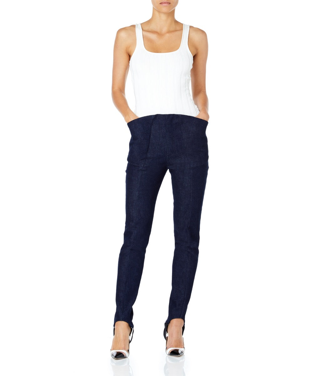 Mugler Wide Pocket Women Blue Denim Trousers