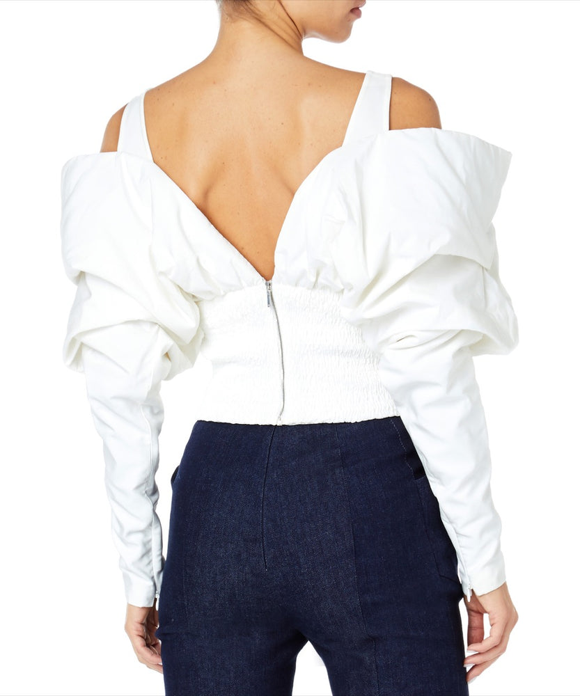 Mugler Off-Shoulder Women White Top
