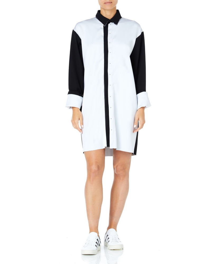 White Contrast Shirt Dress