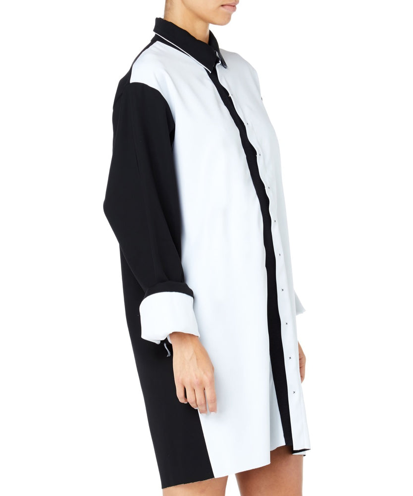 Pa5h White Contrast Women Black and White Shirt