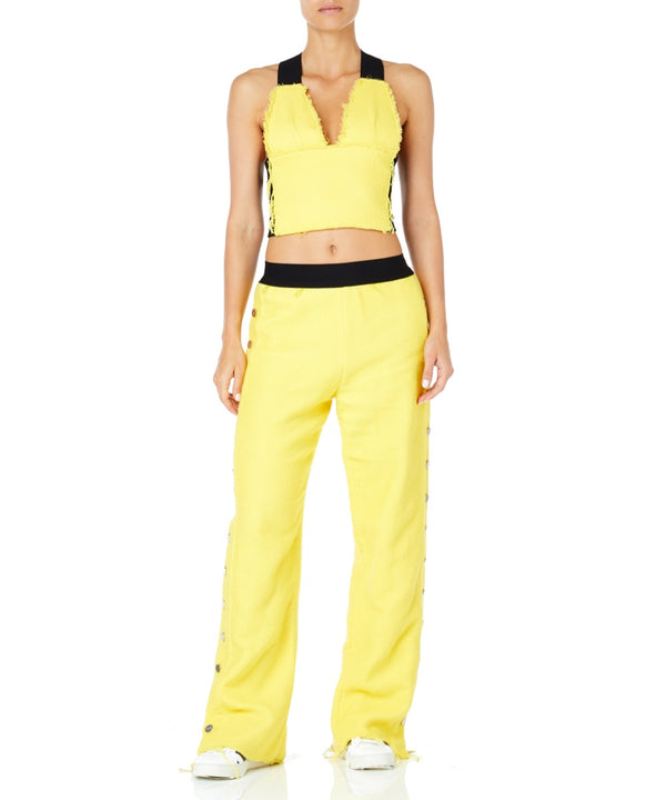 Pa5h Side Buttons Women Yellow Trousers