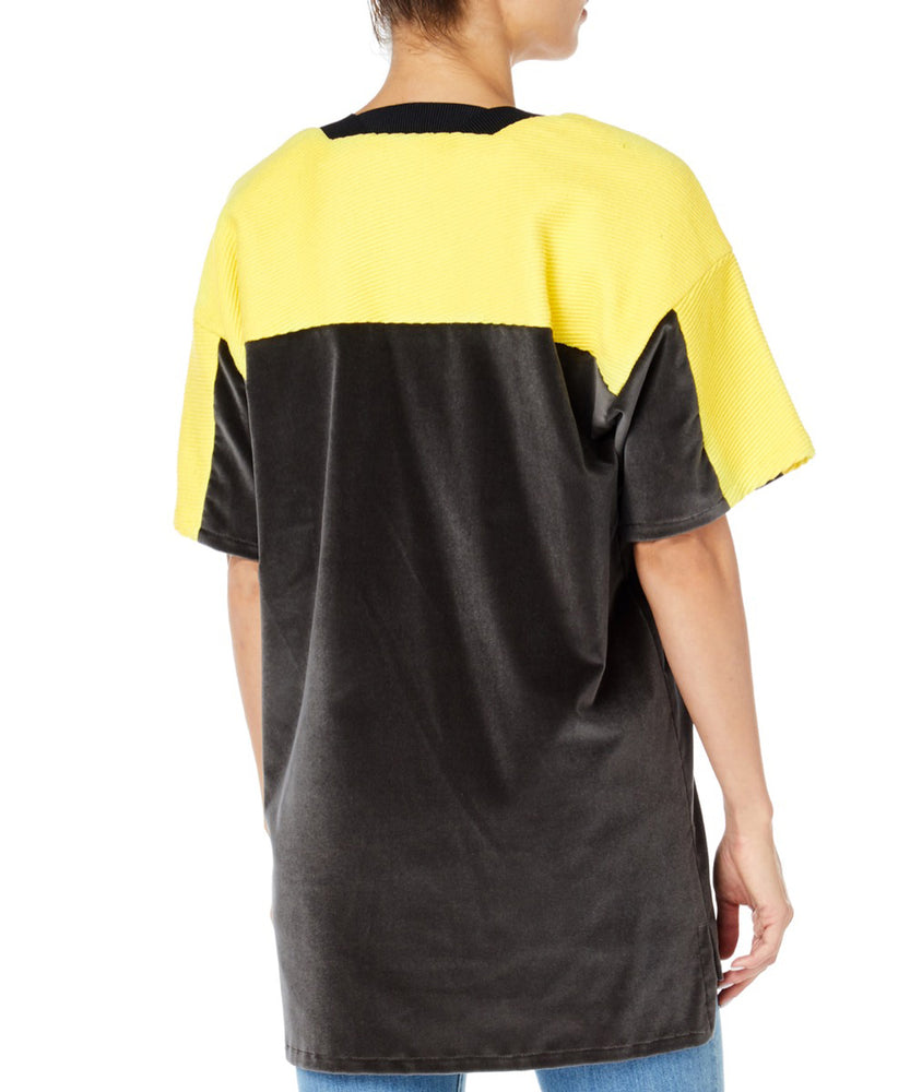 Pa5h Grey and Yellow Women Football Long Tee