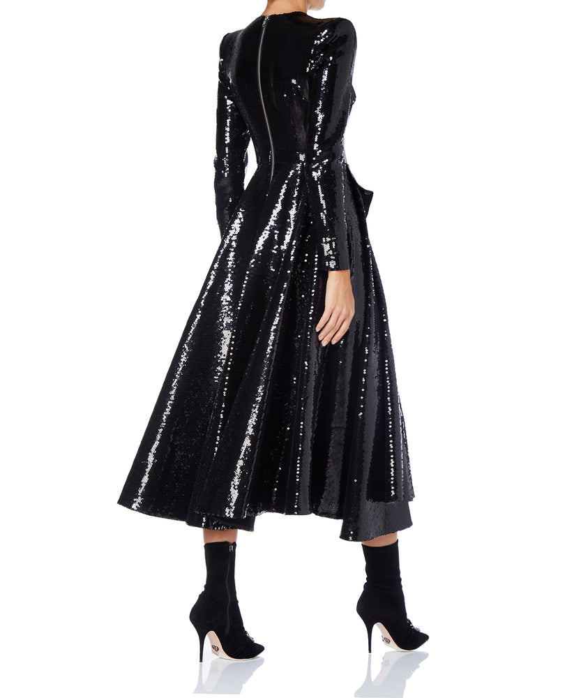 REGAN SEQUIN RUFFLE MIDI
