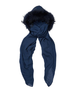FUR LINED HOOD IN MIDNIGHT BLUE  - FONT VIEW- THE BOX BOUTIQUE