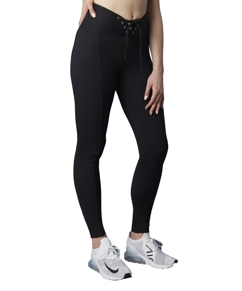 Year of Ours Ribbed Football Leggings Black