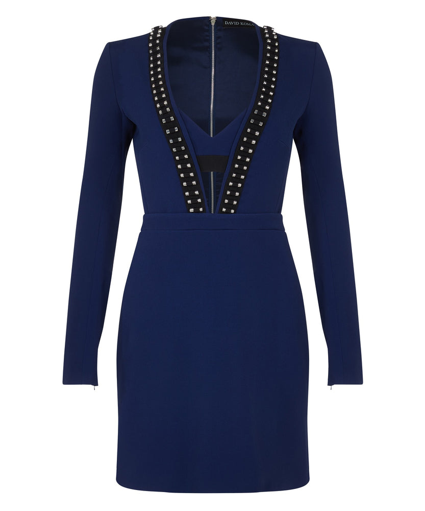 V-NECK LONG SLEEVE DRESS - THE BOX BOUTIQUE