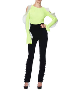 NEON JUMPER WITH RUFFLES - FONT VIEW - THE BOX BOUTIQUE