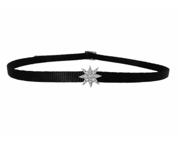 MINI STARBURST CHOKER IN WHITE GOLD-FRONT VIEW-THE BOX BOUTIQUE