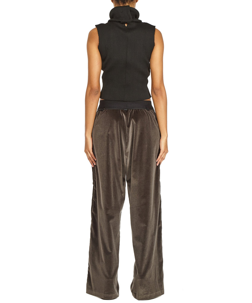 TROUSERS WITH SIDE BUTTONS IN GREY-BACK VIEW-THE BOX BOUTIQUE