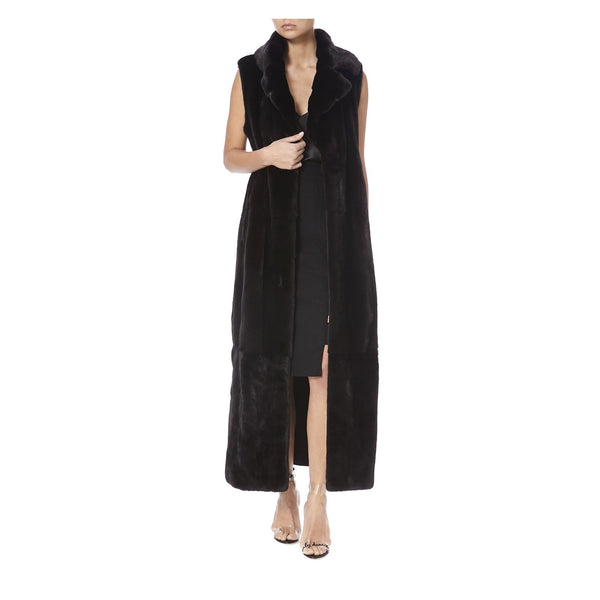 TWIX LONG BLACK MINK SLEEVELESS FUR-FRONT VIEW-THE BOX BOUTIQUE
