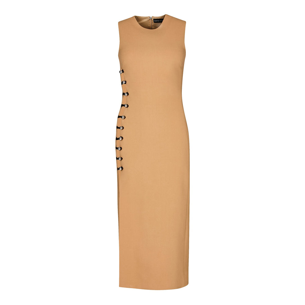 PENCIL DRESS WITH ONE SIDE LOOPS AND METAL BALLS - THE BOX BOUTIQUE