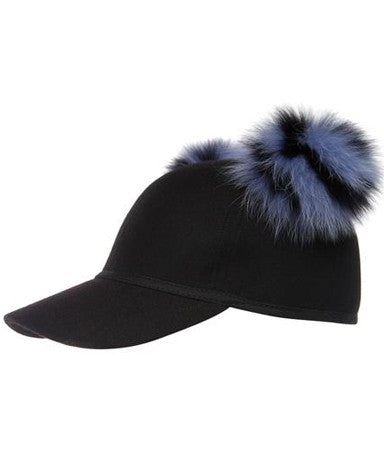 SASS FUR BLUE DOUBLE POM CAP -FONT VIEW- THE BOX BOUTIQUE