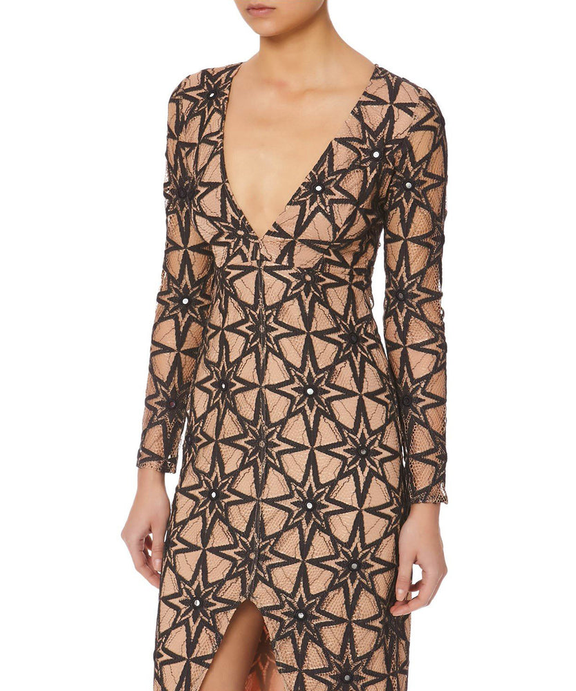For Love and Lemons Metz Women Black Midi Dress