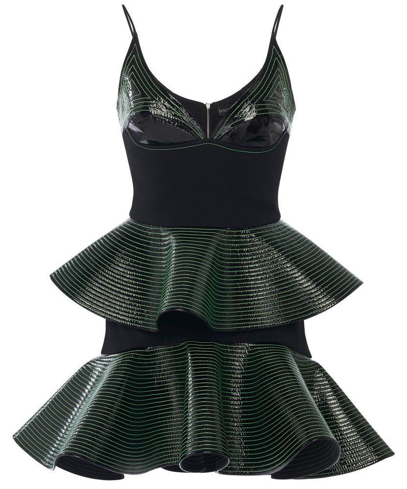 David Koma Peplum Women Black and Green Dress