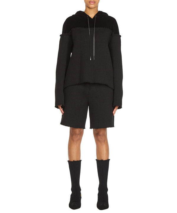 CONTRAST HOODIE IN BLACK-FRONT VIEW-THE BOX BOUTIQUE