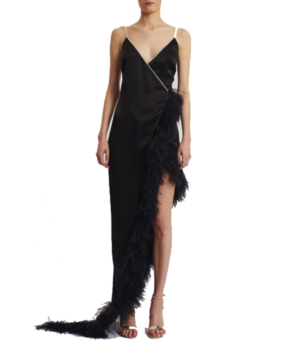 David Koma Crystal And Feather-Trimmed Asymmetrical Dress Black