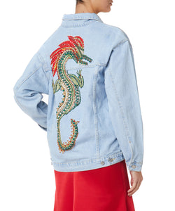 Dalood Dragon Women Blue Jacket