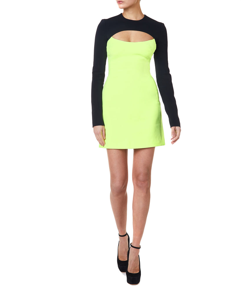 David Koma Cutout Women Black And Neon-Green Dress