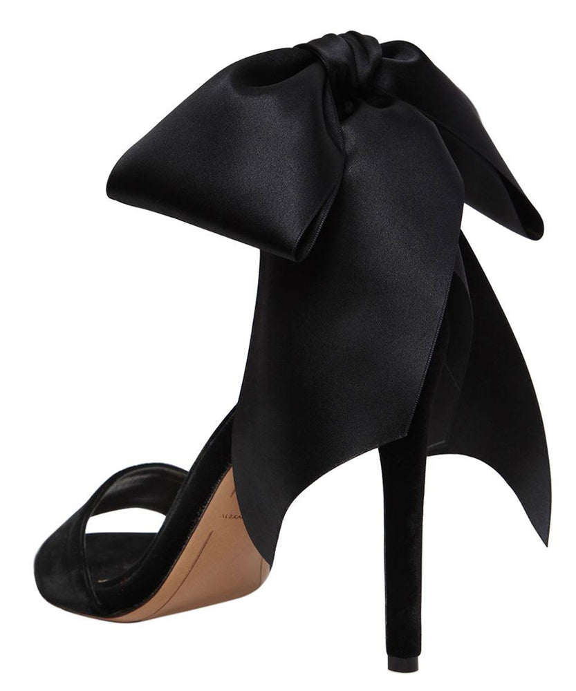 BOW DOWN BLACK VELVET SANDALS  BACK VIEW - THE BOX BOUTIQUE