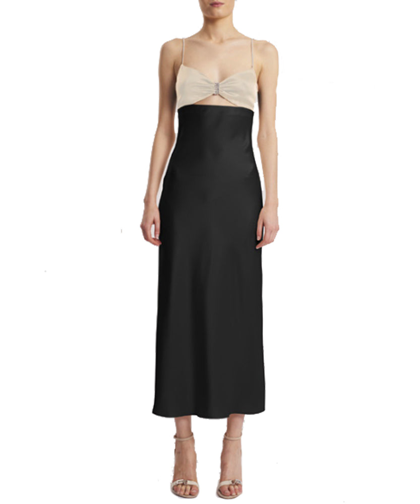 David Koma Crystal-Trimmed Two-Toned Midi Dress Black and Ivory